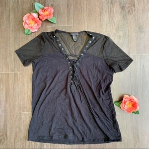 Forever 21 Lace-up Tee in Black